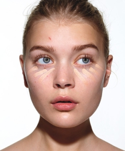 """Step 1: Hide Dark Circles The first step of all: Apply a moisturizer with SPF to help concealer glide on smoothly. Then use concealer only where you need it, like on undereye circles and blemishes, advises makeup artist Ana Marie Rizzieri, who created the look in these photos. Try a creamy formula, like Laura Mercier Secret Concealer, in a shade that matches your skin tone. """"Choosing a shade lighter is a myth,"""" she says. """"Too-white circles under your eyes look like you wore goggles while tanning."""" Apply in little stripes with a pointed concealer brush. Then blend using your ring finger for the lightest touch, and don't tug on delicate undereye areas, Rizzieri instructs. Expert tip: To get at fine lines, use the point of your brush."""