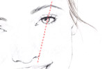STEP 3 To get the right arch, angle the pencil to the outer side of your pupil, with the eraser end at the side of your nostril, and the top just past the middle of your eye. The spot where the pencil hits the brow is where the top of the arch should be, about three-quarters of the way out. Create a line that tapers upwards to this point. Repeat on the other side